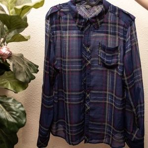 Guess Sheer Plaid button up top - Navy blue